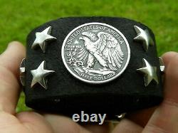 Bison leather cuff Bracelet authentic Walking Liberty Eagle Half dollar coin