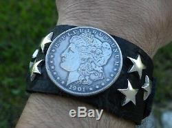 Bison leather cuff adjustable Bracelet authentic silver Morgan one dollar coin