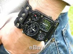 Bison leather wristband cuff Men watch bracelet wristwatch for biker customize