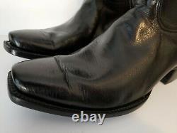 Black Jack Handmade Sz 12 D Black Buffalo Bison Leather Cowboy Boots