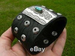 Bracelet vintage sterling silver turquoise Bison leather cuff ketoh one of kind