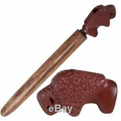 Buffalo Bison Effigy Offering Pipe Red Pipestone Catlinite Ceremonial Peace Pipe