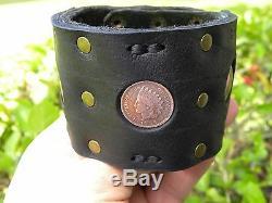 Buffalo Bison leather cuff biker men bracelet authentic Indian Head penny coins