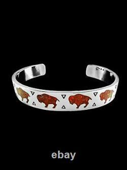 Buffalo Bracelet, 925 Sterling Silver Bracelet, Red Opal Bracelet, Bison Cuff