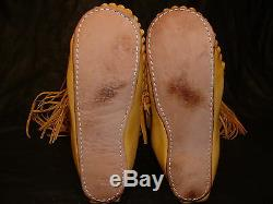 Buffalo Men's 10 Gold Knee High Moccasins indian Leather Bison Hide Leather