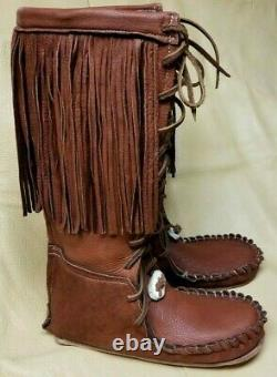 Buffalo Men's 11 Brown Knee High Moccasins indian Leather Bison Hide Leather