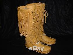 Buffalo Men's 11 Gold Knee High Moccasins indian Leather Bison Hide Leather