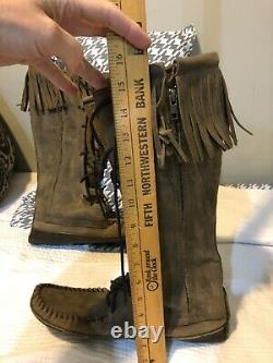 Buffalo Men's 12 Brown Knee High Moccasins indian Leather Bison Hide Leather