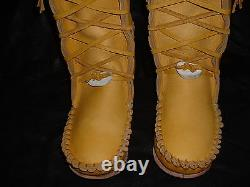 Buffalo Men's 12 Gold Knee High Moccasins indian Leather Bison Hide Leather