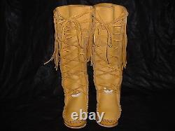 Buffalo Men's 9 Gold Knee High Moccasins indian Leather Bison Hide Leather