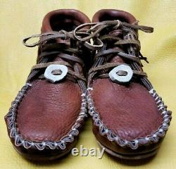 Buffalo Men's Size 10 Moccasins Tobacco Brown Pawnee Style indian Bison Leather