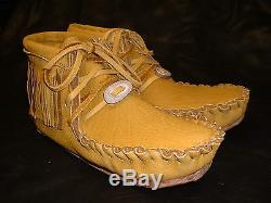 Buffalo Men's Size 10 Pawnee Style Moccasins Western Cowboy indian Bison Leather