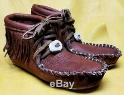 Buffalo Men's Size 11 Moccasins Tobacco Brown Pawnee Style indian Bison Leather
