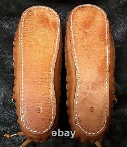 Buffalo Men's size 10 Moccasins Tobacco Brown indian Leather Bison Pueblo Style