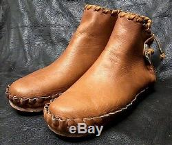 Buffalo Men's size 11 Moccasins Tobacco Brown indian Leather Bison Pueblo Style