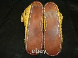 Buffalo Men's size 14 Moccasins Gold indian Leather Bison Hide Pueblo Style