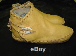 Buffalo Women's size 9 Moccasins Gold indian Leather Bison Hide Pueblo Style