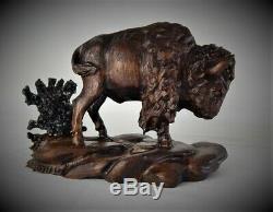 Bull Bison / Buffalo Original Black Walnut Wood Carving Sculpture By Joan Kosel
