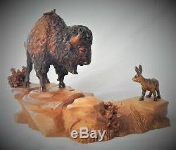 Bull Bison / Buffalo Original Cherry Wood Carving Sculpture By Joan Kosel