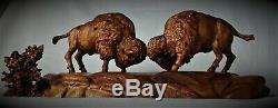 Bull Bison / Buffalo Original Mahogany Wood Carving Sculpture By Joan Kosel