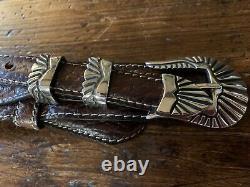 Chacon James Reid style Santa Fe Sterling Silver Belt Buckle Set Nu 34-37-1.25
