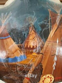 Charles G. Blaylock Native American Original Oil Painting Buffalo Skull Bison