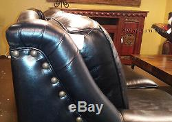 Chisolm Bison Black 100% Hand Cut Top Grain Leather Sofa Made in the USA