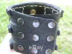 Cuff Black special Bracelet Bison leather sterling silver Kokopelli Onyx stone