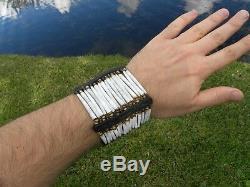 Cuff dentalium bracelet ketoh good luck shell bone Bison leather Shaman styl