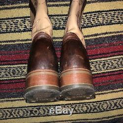 Double H Ice Roper Brown Bison Leather Square Toe Cowboy Boots Dh4305 Men's 11.5