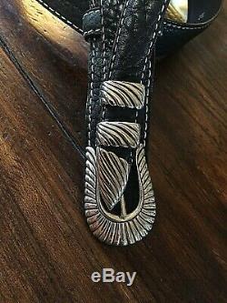 Douglas Magnus James Reid style Sterling Silver Belt Buckle Set NU Bison 34