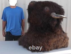 FREE SHIPPING! GIANT BUFFALO HEAD SHOULDER MOUNT TAXIDERMY Bison deer bear rug