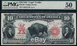 Fr. 120 1901 $10 Bison Legal Tender PMG 50