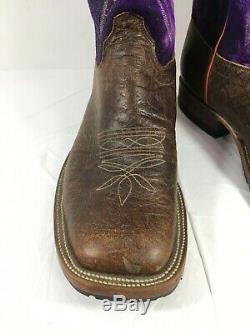 GUC Men's Olathe Bison Western Boots Brown & Purple Square Toe Sz 11 D