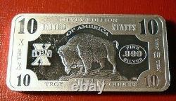 Genuine American BuffaloBison Silver Bar United States 10 Troy oz. 999 Silver