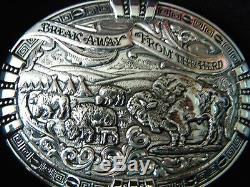 Gist Cowboy Break Away From The Herd Buffalo Bison Belt Buckle New In Box