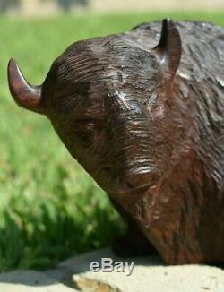 Great Large 10 1/2 Vintage Hand Carved American Buffalo Bison Wooden Figure