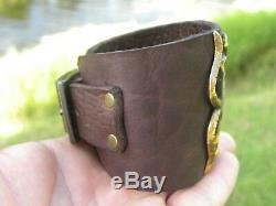 High Quality cuff Bison leather Bracelet dark brown adjustable 7 to 8 size