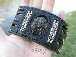 Indian Chief cuff Ketoh Bracelet black Bison leather motorcycle biker wristband