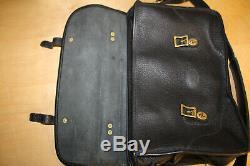 J. W. Hulme Bison Leather Soft Briefcase Messenger Laptop Bag Black Made in USA