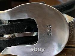 James Reid Designer MM Rogers Sterling Silver 14k Gld Belt Buckle Set 35-38-1.25