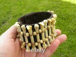 Ketoh Men Bracelet Shaman style Bobcat bone sinew Bison leather for biker hunter