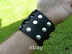 Ketoh turquoise gemstone cuff bracelet Bison leather biker customize to wrist