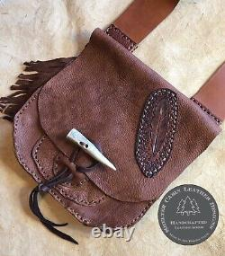 LEATHER POSSIBLES BAG Black Powder Rendezvous Mountain Man Bison Leather