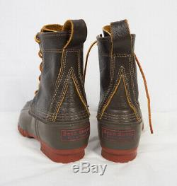 LL BEAN Original 8 Bison Brown Leather Duck Boots Brick Red Sole Women 6 or 6.5