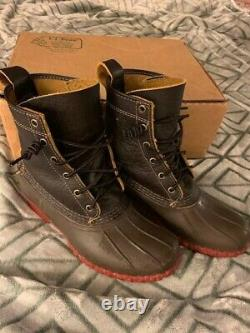 LL Bean Original 8 Bison Brown Leather Duck Boots Red Sole Womens Size 8