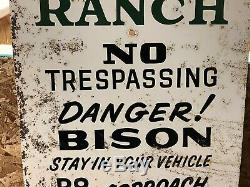 LQQK! ORIGINAL Vintage ZAPATA RANCH No Trespassing DANGER! BISON Buffalo OLD