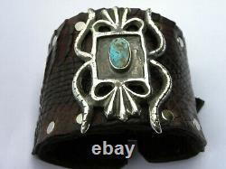 Large cuff Ketoh turquoise Bracelet genuine Alligator Bison leather adjustable