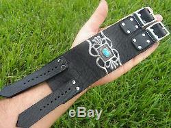 Large cuff biker bracelet sterling silver Bison leather adjustable buckle men