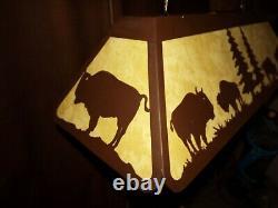 Laser cut Steel BUFFALO BISON Pool Table office Light Lamp hunt cabin COPPER